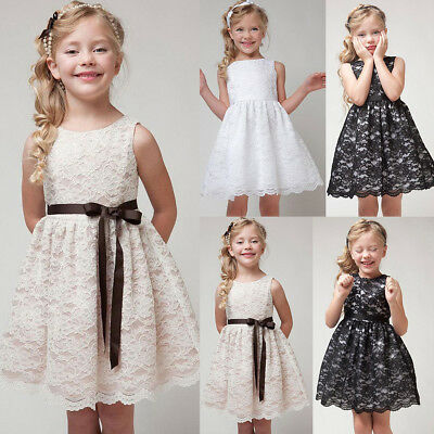 Flower Girl Princess Dress Kids Birthday Party Pageant Wedding Lace Tutu Dresses