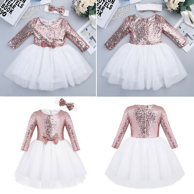 Kids Baby Flower Girl Dress Sequin Long Sleeve Party Wedding Bridesmaid Princess