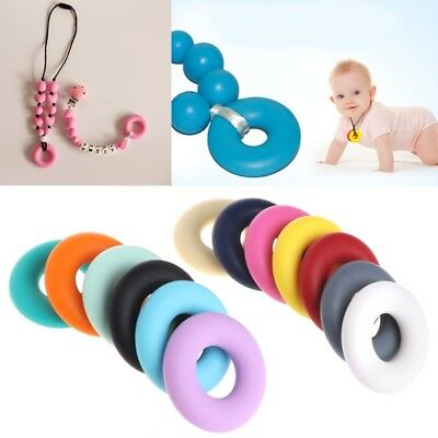 Silicone Beads Pendant Baby Teether Relief Pain Ring Necklace DIY Decor Safety