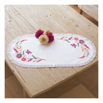 Embroidery Kit Doily Colourful Flowers on Polycotton Fabric| Size 30 x 60cm