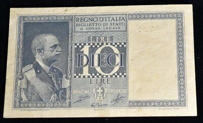 1944 Italy 10 Lire Banknote - CAT $2 #25a