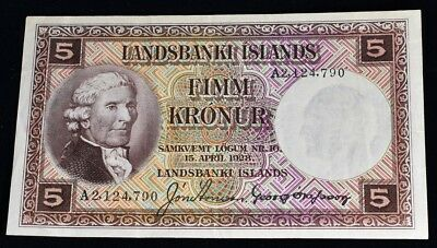 1928 Iceland 5 Kronur note - CAT $50 #27B - VF