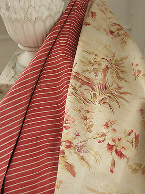 Antique French fabric Coordinating Pillow / upholstery textiles ~ c1900 ~