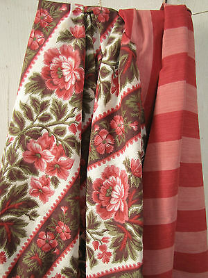 Antique French fabric Coordinating  Pillow / upholstery pieces + red ticking