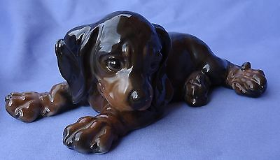 1930 Black Tan Dachshund Puppy Dog Rare Rosenthal 7""