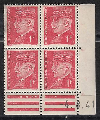 France Coin Date Bloc De 4 Timbre Neuf N° 514   Marechal Petain Type Hourriez