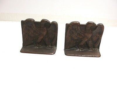 Set Of 2 Vintage Bald Eagle Cast Iron Bronze Colored Bookends By Dal