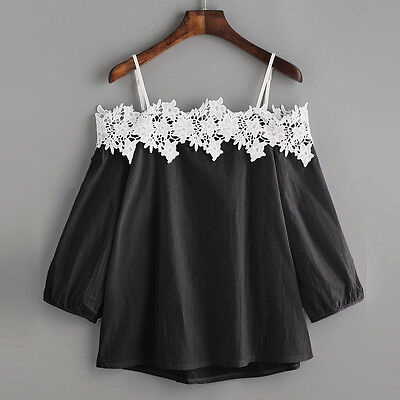 Womens Sexy Off shoulder Long Sleeve  Lace Shirt T-Shirt Top Ladies Tops Blouse