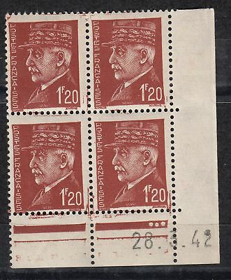 France Coin Date Bloc De 4 Timbre Neuf N° 515   Marechal Petain Type Hourriez
