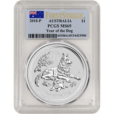 2018 P Australia Silver Lunar Year of the Dog 1 oz $1 - PCGS MS69 First Strike