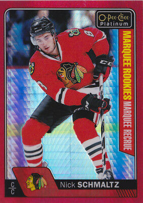 16-17 OPC Platinum Nick Schmaltz /199 Rookie Red Prism OpeeChee Blackhawks 2016