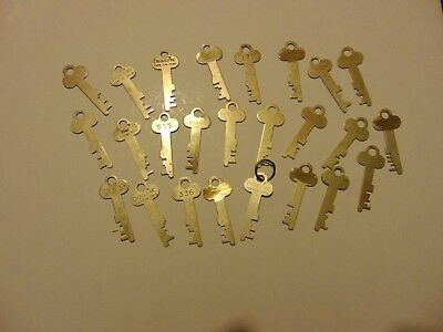Vintage LOT OF 25 Brass Diebold and unmarked Safe Deposit box Lock Keys-lot 16