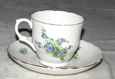 Crown Staffordshire Blue Flowers Bone China Cup & Saucer Made in England