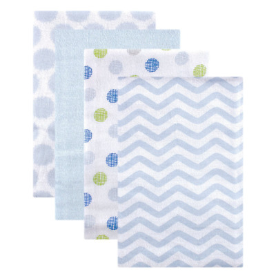 Luvable Friends High-quality Flannel Receiving Blankets, Blue Dots 4 Count NEW