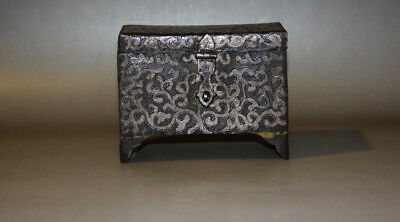@Rare Nice 19th Century Old Antique Tibet Folk Noble Iron Box Inlay With Silver@