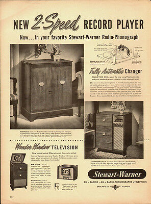 1948 Vintage ad for New 2-Speed Record Player~Stewart-Warner (081513)