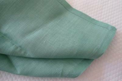 Set of 7 Antique Green Irish Linen Dinner Napkins Hemstitch Jadeite