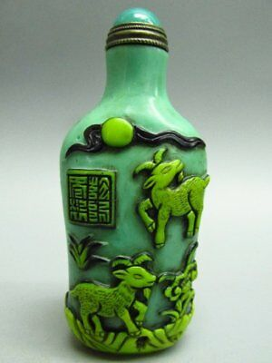 Chinese Flower Bat Sheep Pattern Carved Peking Glass Snuff Bottle