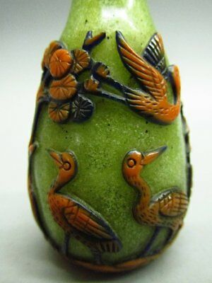 Chinese Crane Tree Pavilion Pattern Carved Peking Glass Snuff Bottle