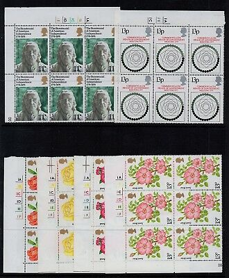 GB 1976-77 Commemorative STAMPS CYL BLOCKS US Bicen Government ROSES Ref:QH193