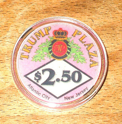 $2.50 TRUMP Plaza Hotel CASINO CHIP - Atlantic City, New Jersey - 1986