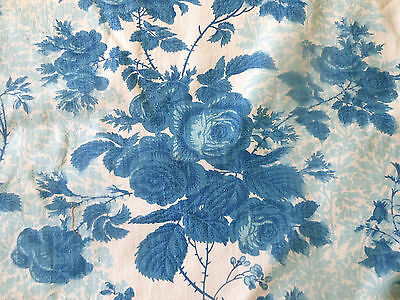 Vintage Mid Century French Roses Floral Furnishings Fabric ~ Lovely Blue