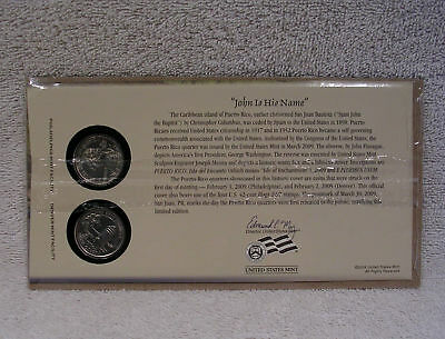 2009  Puerto Rico  First Day Cover - Sealed Cello P & D Mint State Quarter WB2