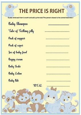 Baby Shower Game The Price Is Right Blue Jungle Theme X 10