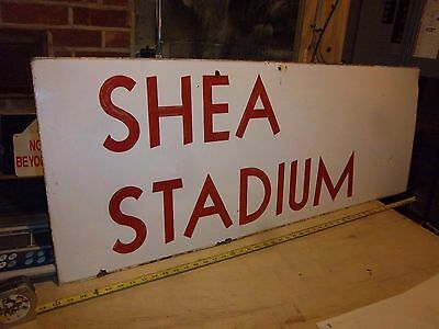 Nyc Subway Sign Obsolete Old Shea Stadium Ny Mets Porcelain Station Collectible