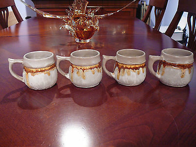 4 VItg LAURENTIAN POTTERY TUNDRA POTTERY MUGS CUPS