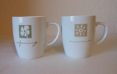 "PIER 1 ""Four Seasons"" Mugs Summer/Winter and Spring/Autumn Set of 2 Greece"