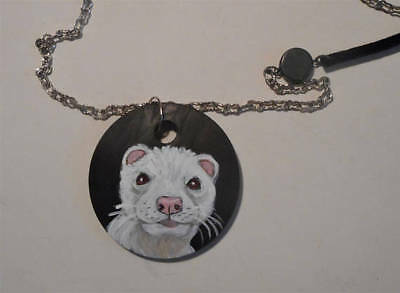 Albino Ferret Unisex Necklace Hand Painted Wooden Pendant