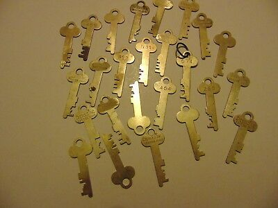 Vintage LOT OF 25 Brass Diebold and unmarked Safe Deposit box Lock Keys-lot 19