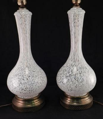 Pair Vintage Mid Century Modern Murano Art Glass Lamps~Hollywood Regency