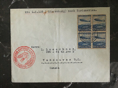 1936 Germany Hindenburg Zeppelin LZ 129 cover to Canada Block 4