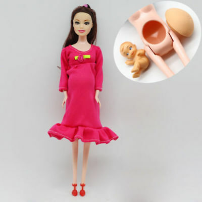 Brown Hair Real Pregnant Mom Doll Baby Her Tummy Barbie Dolls Girls Toys