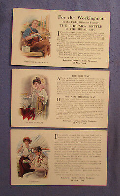 3 Vintage 1908 American Thermos Bottle Company Advertising Postcards Yachting ++