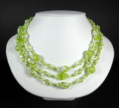 Vintage Style TRIPLE (3) STRAND Lime Green and White ART GLASS Bead Necklace