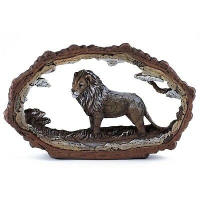 """Lion Carved Wood Look Bark Frame Figurine Resin 7.5"""" Long New In Box!"""