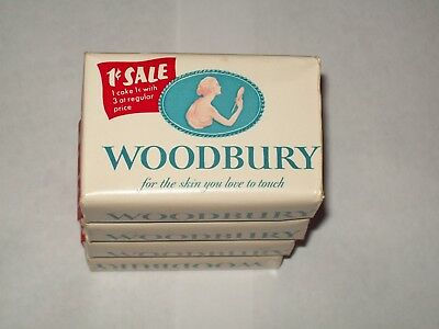 Vintage-WOODBURY-Soap-Bar-Package-Lot-of 4-NOS-New Old Stock-1950's