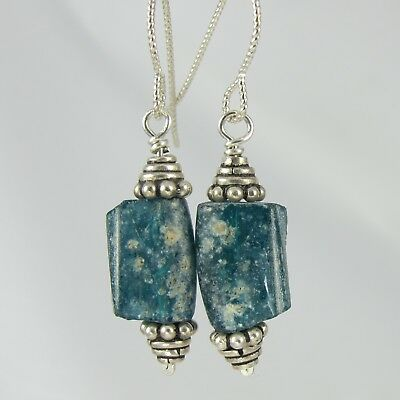 lovely greenish blue ancient Roman glass and sterling silver earrings
