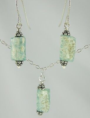 "sea foam green ancient Roman glass sterling silver earring and necklace 18"" set"