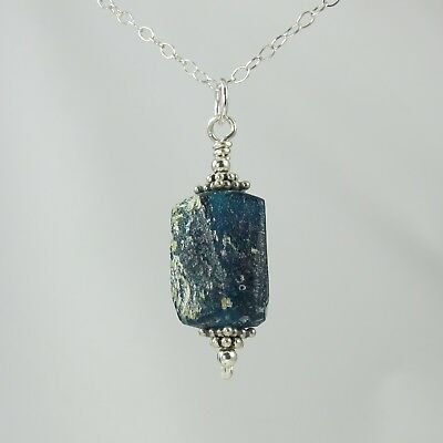 deep blue ancient Roman glass sterling silver necklace 18""
