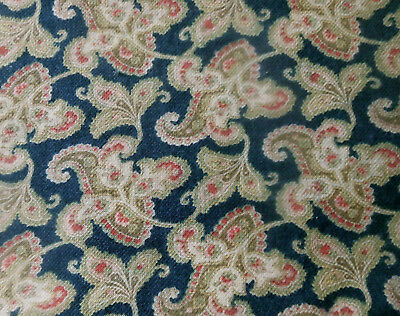 Antique Jacobean Paisley Floral Cotton Fabric ~ Dk. Blue Pink Red Olive ~