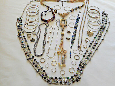 Huge Mixed Lot of Vintage/Estate/Modern Junk Costume Jewelry All Wearable 1+ Lbs