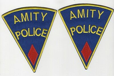 Jaws Movie Amity Police Uniform Red Diamond Patch Set (2) 5 inches tall