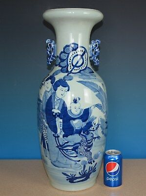 Magnificent Antique Chinese Blue And White Porcelain Vase Rare L7386