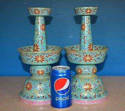 Superb Pair Of Antique Chinese Famille Rose Porcelain Candle Holder Qianlong J78
