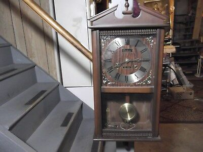 Vintage Centurion 35 Day Key Wind Coil Chime Revere Wall Clock