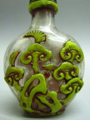 Chinese Flower Pattern Carved Peking Glass Snuff Bottle